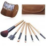 7Pcs Professional Cosmetic Makeup Brushes Brush Set with Fleece Bag-Coffee