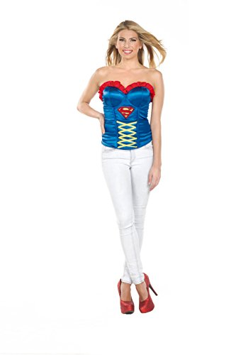 Secret Wishes DC Comics Justice League Superhero Style Adult Corset Top with Logo Supergirl, Blue, Small
