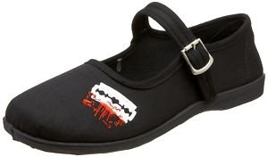 DEMONIA New Goth Black Canvas Red Bloody Razor Flat Mary Jane Rock Ballet Shoes - Ladies UK 7 / EU 40 / US 10