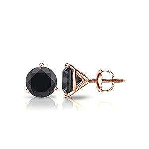 14k Rose Gold Round Black Diamond 3-Prong Martini Stud Earrings (1 1/2 ct, Black)