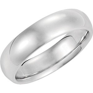 Platinum Comfort Fit Wedding Band:6MM: 6mm - Size 10