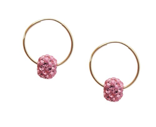 10k Gold Children's 6mm Pink Crystal Slider Hoop Earrings