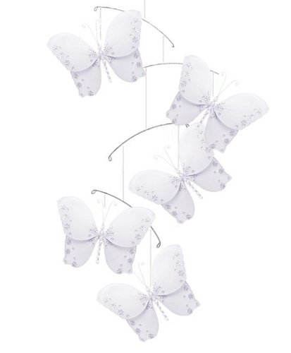 Butterfly Mobile White Twinkle Nylon Butterflies Mobiles Decorations. Decorate For A Baby Nursery Bedroom, Girls Room Hanging Ceiling Decor, Wedding Birthday Party, Bridal Baby Shower, Bathroom. Kids Childrens Decoration 3D Art Craft front-1025509
