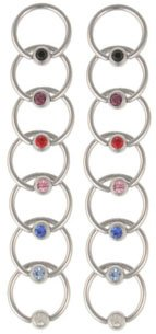 LOT 14 Jeweled Gem Captive Bead Rings CBR Nipple