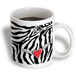 3Drose Cupid Heart With Wings Zebra Print Ceramic Mug, 15-Ounce