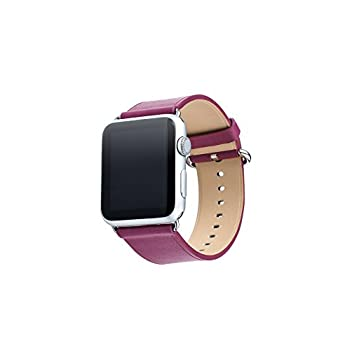 Apple Watch Band, Aisun® Vintage Embossed Genuine Leather strap Wrist Band Replacement with Metal Clasp for Apple Watch All Models (Fuchsia 38mm)