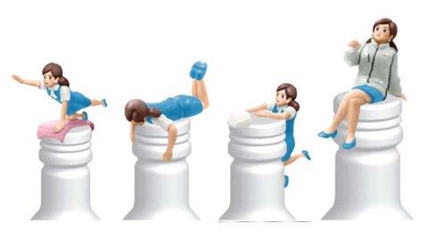 奇譚クラブ アサヒビール×タナカカツキ 非売品ボトルのフチ子 4体セット(コップのフチ子シリーズ)