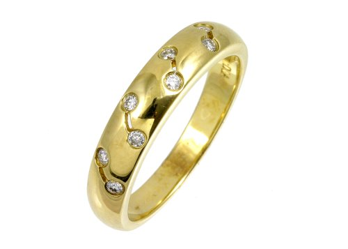 Eternity Ring, 9ct Yellow Gold Diamond Ring, Rub Over Set, 0.1 Carat Diamond Weight