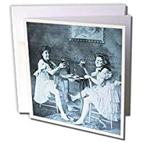 Scenes from the Past Vintage Stereoview - Ballet Dancers with Beer Cyan tone - Greeting Cards-6 Greeting Cards with envelopes