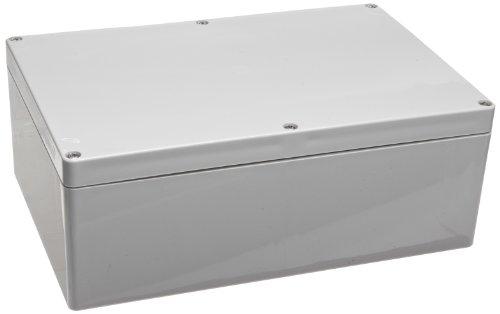 "Bud Industries Pn-1340 Polycarbonate Nema 4X Box, 9-7/16"" Length X 6-19/64"" Width X 3-17/32"" Height, Light Gray Finish"