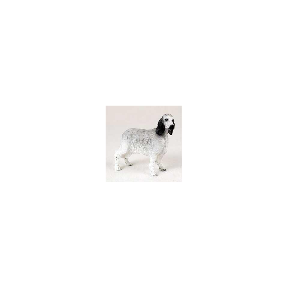 English Setter Dog Figurine   Black Belton