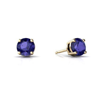 Jewels For Me 14K Yellow Gold Round Created Sapphire Stud Earrings