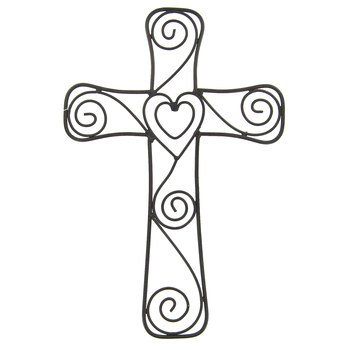 Aunt Chris' Products - Heart & Swirls Metal Cross - Wall Mounted Decor - Layered Hearts In The Middle - Use Indoor Or Outdoor