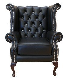"Chesterfield CRYSTALLIZEDâ""¢ - Swarovski Elements Queen Anne High Back Wing Chair Black Leather"