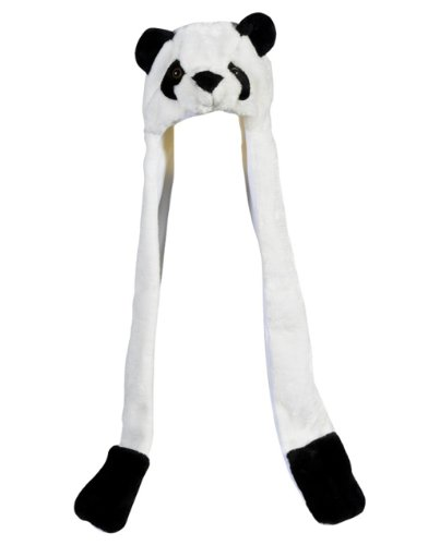 Plush Panda Hat Novelty Cap Animal Costume Beanie With Long Paws - 1