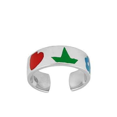 Sterling Silver Adjustable Multi Color Enameled