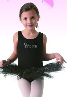 Posh Int'l Girls Black Princess Tutu Leotard Dress Dance Costume