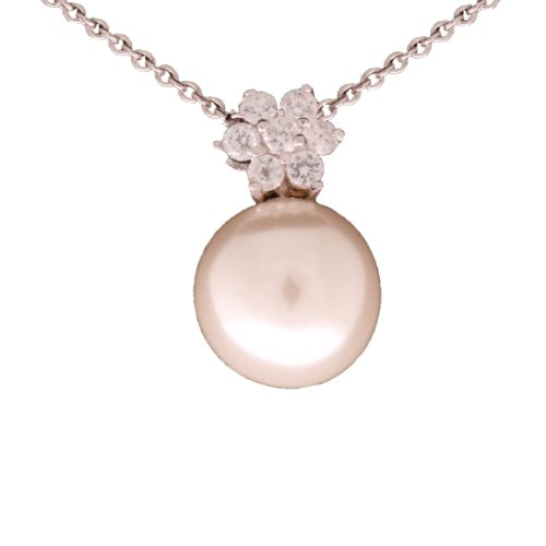 Elegant Sterling Silver with Rhodium Overlay 9MM Freshwater Pearl With Flower Shaped made from CZ Pearl Pendant Necklace!