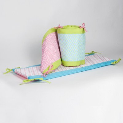 Pam Grace Creations Crib Bumper, Aqua Peacock front-854507