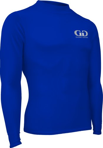 Boy's and Girl's Compression, Long Sleeve Mock Neck Shirt-Double Layered Moisture Resistant Fabric Will Keep Your Child Warm during Football, Baseball, Hockey and other Sports-Sizes YS, YM, YL. (Youth-Large, Royal)