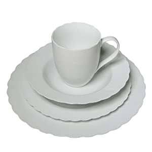 16 Piece Pure White High-Fire Porcelain Dinnerware Set, Floral Ridge