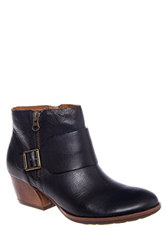 Isa Low Heel Zip-Up Bootie