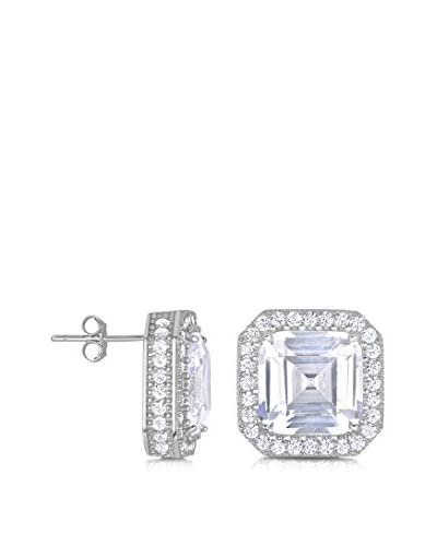 GENEVIVE Jewelry Platinum-Plated Sterling Silver CZ Square Stud Earrings