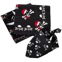 Lot Of 12 Pirate Skull + Cross Bone Bandanas Party - 1