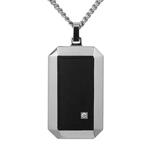 coolman-stainless-steel-dog-tag-pendant-necklace-inlaid-one-cubic-zirconia-with-236-inches-chain