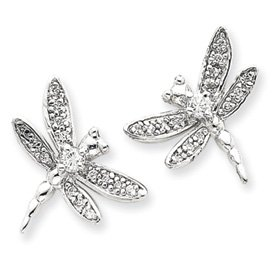 Sterling Silver CZ Dragonfly Post Earrings