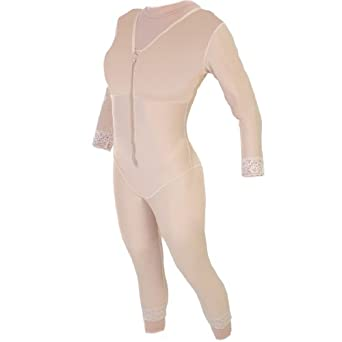 Contour Style 28S - Mid Calf Body Shaper with Sleeves - Large - Beige
