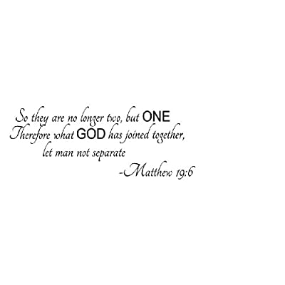 Not Separate -Matthew 19:6 wall quote wall decals wall decals quotes