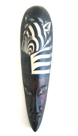 OMA® African Mask Wood Carved Zebra Safari Wall Hanging Decor LARGE SIZE 20