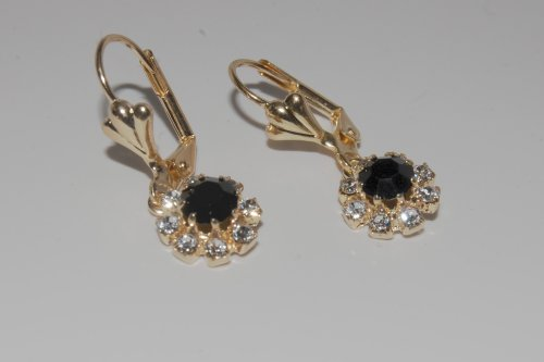 Gold Plated Babies/children Earrings Black Anex Stone Brand New
