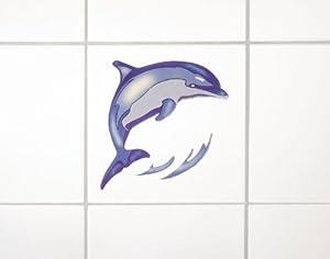 Wenko 18470100 3D-Fliesendekor Dolphin - 6er Set, selbstklebend, rückstandslos ablösbar, je 10 x 10 cm