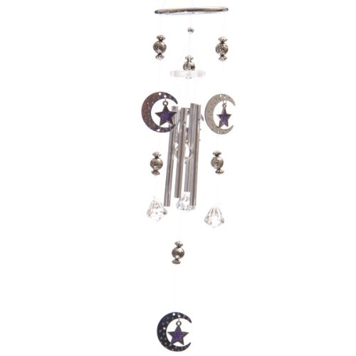 Crescent Moon with Glass Star Wind Chime