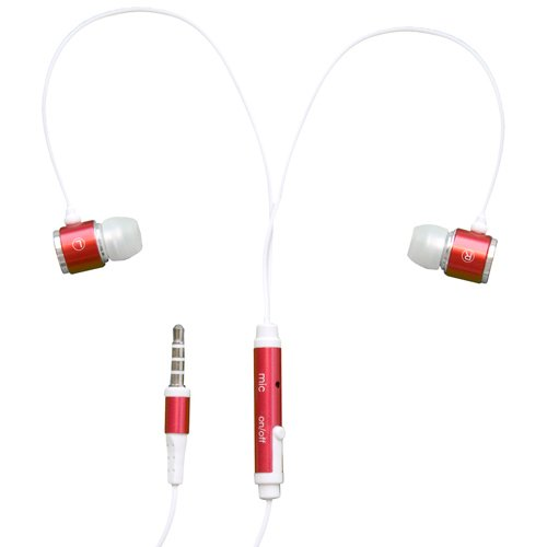Rnd Noise Reducing Ear Buds With Built-In Microphone (Red)