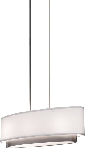 B004AYE5JE Artcraft Lighting SC784 Scandia Oval Chandelier, Brushed Nickel with White Linen Shade
