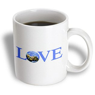 Mug_180476_2 Inspirationzstore Love Series - Love Fish - Text With Fish Bowl For O Blue Aquarium With Yellow Coral - Mugs - 15Oz Mug