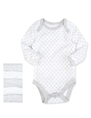 5 Pack Pure Cotton Star & Stripe Print Bodysuits