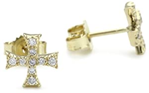 Mizuki Petite Gold and Diamond Square Cross Stud Earrings