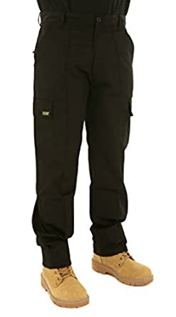 "Mens Cargo Combat Work Trousers Sizes 28 to 56 By Site King With Button & Zip Fly (28 Waist / 27"" Extra Short Leg, BLACK)"