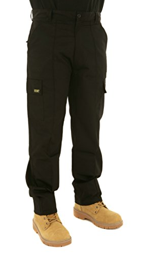 Mens Cargo Work Trousers Black or Navy Sizes 28 to 52 by SITE KING (32 Waist / 31
