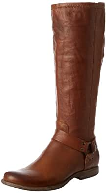 FRYE Women's Phillip Harness Tall Boot: Wide Calf, Cognac Soft Vintage Leather Wide Calf, 5.5 M US