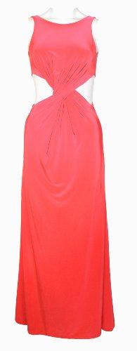Womens Sleeveless Side Cut Out Twist Maxi Dress Gown (Aqa) (8/10 (Uk 12/14), Hot Pink)