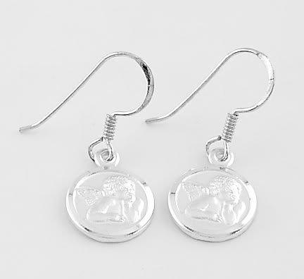 Sterling Silver Cherub Baby Angel Fish Hook Style Earrings