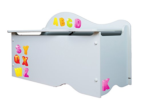 530040 Buchstaben und Zahlen Koffer Kinderzimmer  Holz  weiß  70 x 36 5 x 45 cm