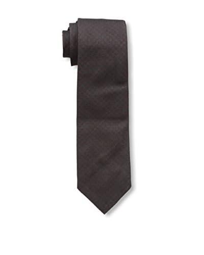 Valentino Men's Solid Textured Tie, Black/Burgundy