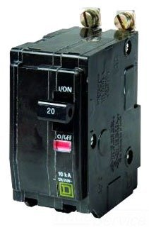 Square D Bolt-On Circuit Breaker, 20 Amp, Qob220