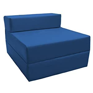 Comfortable Fold Out Z Bed Chair in Blue. Soft, Comfortable & Lightweight with a Removeable Waterproof Cover. Available in 10 Colours.
